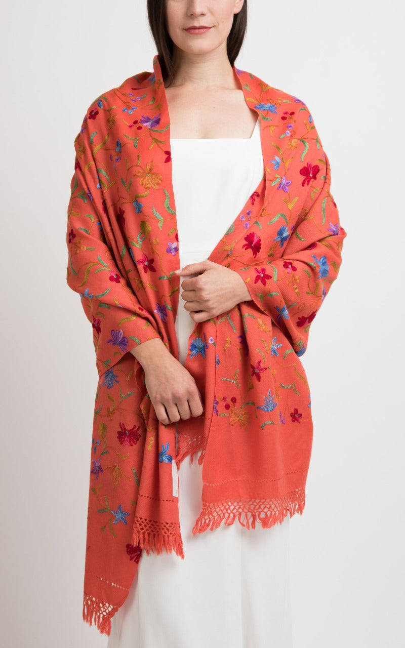 Floral Orange Embroidered Wool Shawl, The Little Tibet