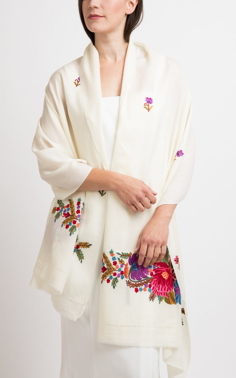 Sisie Hand Embroidered Wool Shawl, The Little Tibet