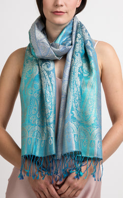 Rio Aqua Silk Scarf - MCM103 - The Little Tibet