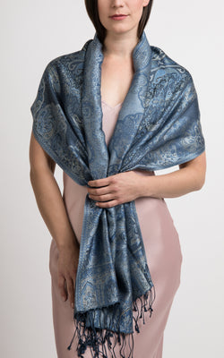Harriet Navy Silk Pashmina - LM 312