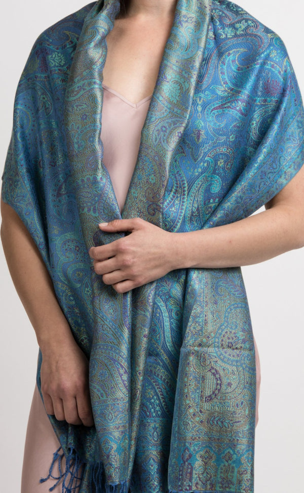 Intricate Blue Silk Scarf UK-silk pashminas and wraps- MCM217