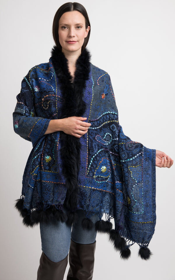 A touch of Berry blue and denim colour boiled wool Capes-CP101, The Little Tibet