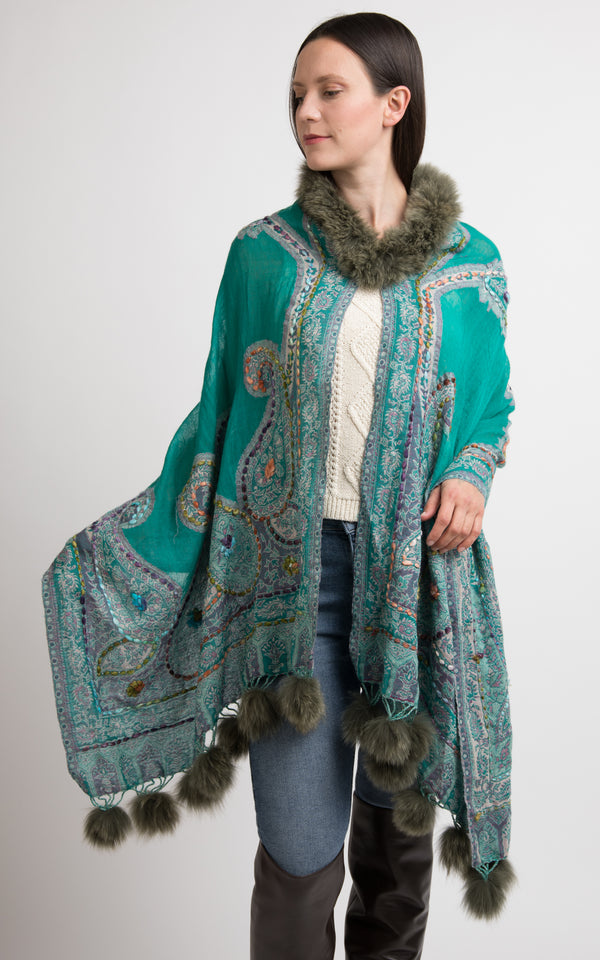 Mint Green boiled wool Capes-CP102, The Little Tibet