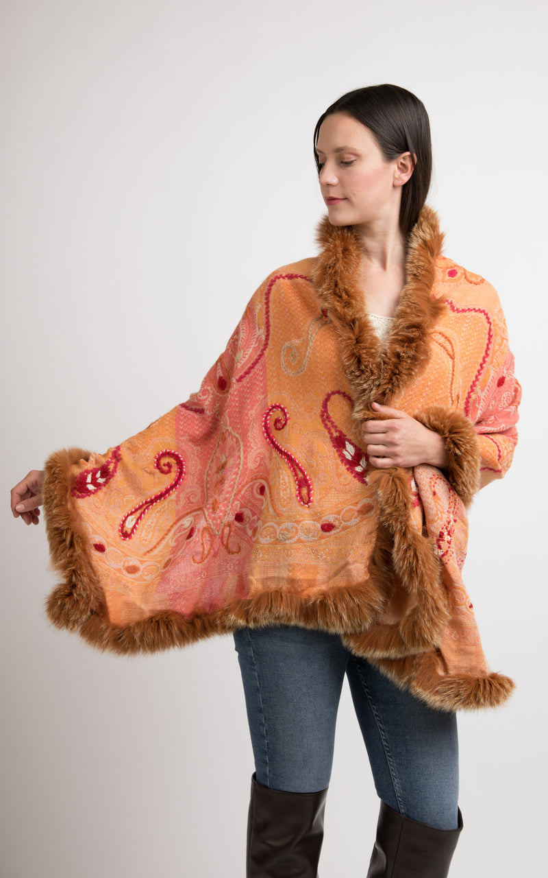 Sandstone orange boiled wool Capes-CP103, The Little Tibet