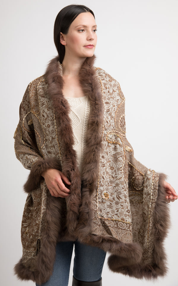 Cedar brown boiled wool Capes-CP105, The Little Tibet