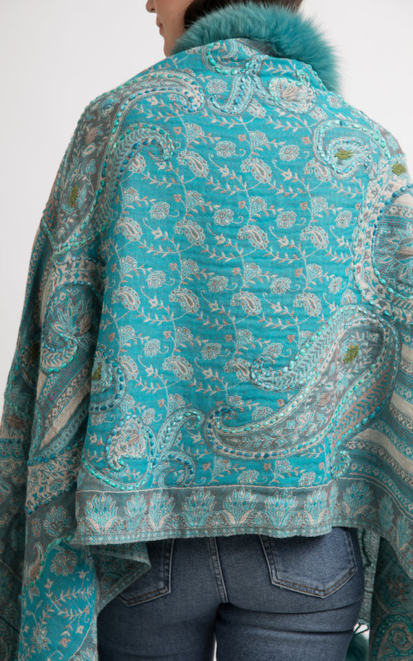 Sapphire Green boiled wool Capes-CP106, The Little Tibet