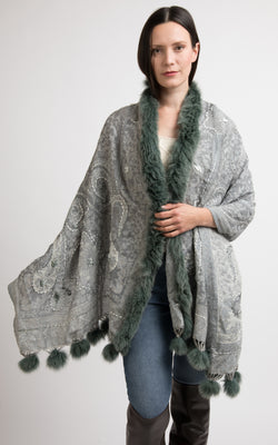 Silver Grey boiled wool Capes-CP107, The Little Tibet