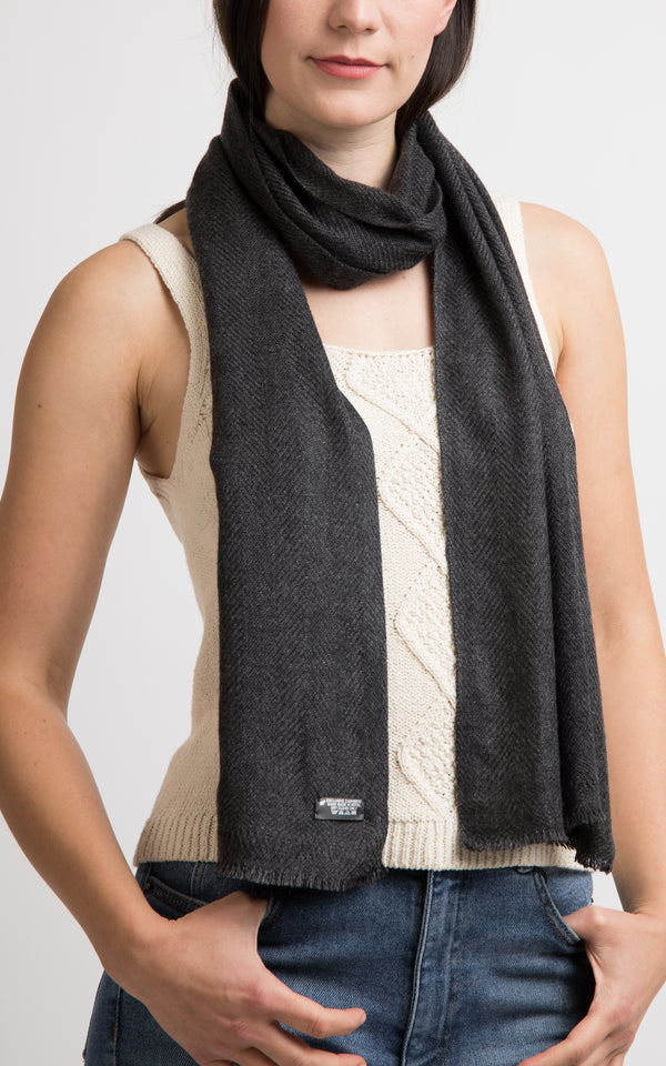 Grey Cashmere Skinny Scarf, The Little Tibet