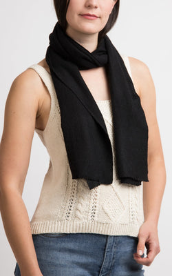 Black Cashmere Skinny Scarf, The Little Tibet