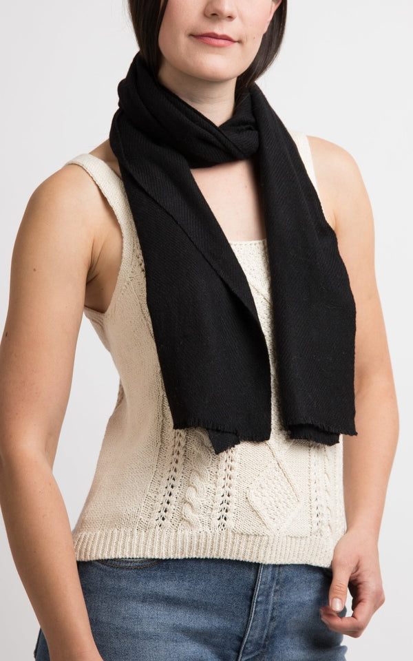 Black Cashmere Skinny Scarf, cashmere scarfThe Little Tibet