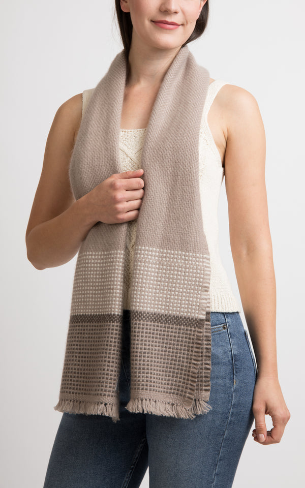 Beige Cashmere Handloom Muffler, The Little Tibet