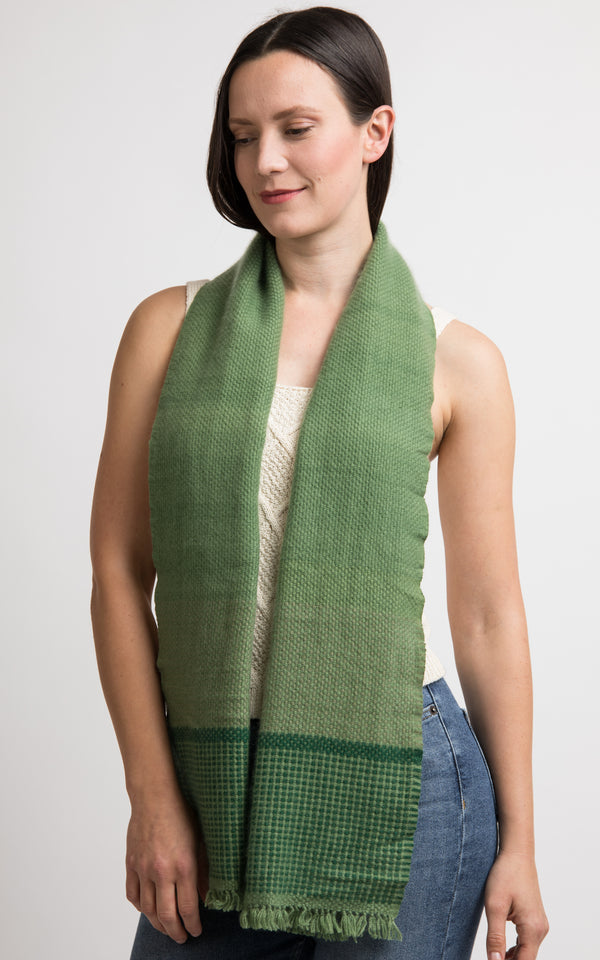Green Cashmere Handloom Muffler, The Little Tibet