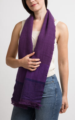 Purple Cashmere Handloom Muffler, The Little Tibet