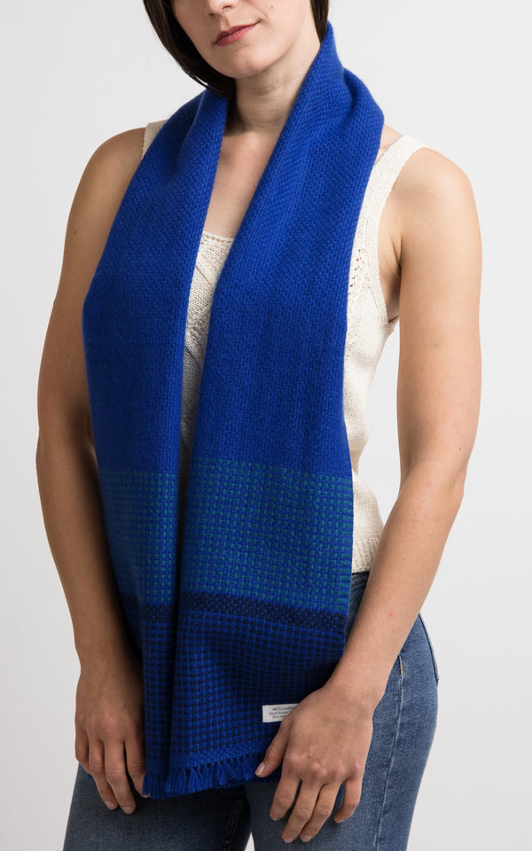 Blue Handloom Cashmere Muffler, The Little Tibet
