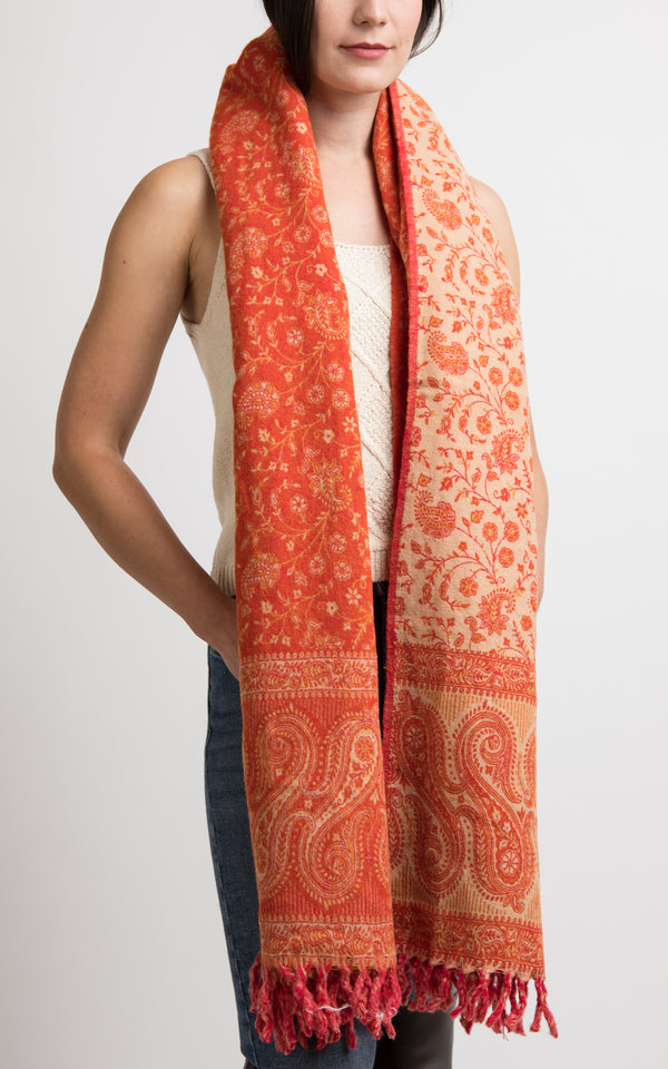 Tangerine orange reversible shawl styled as chunky knit scarf