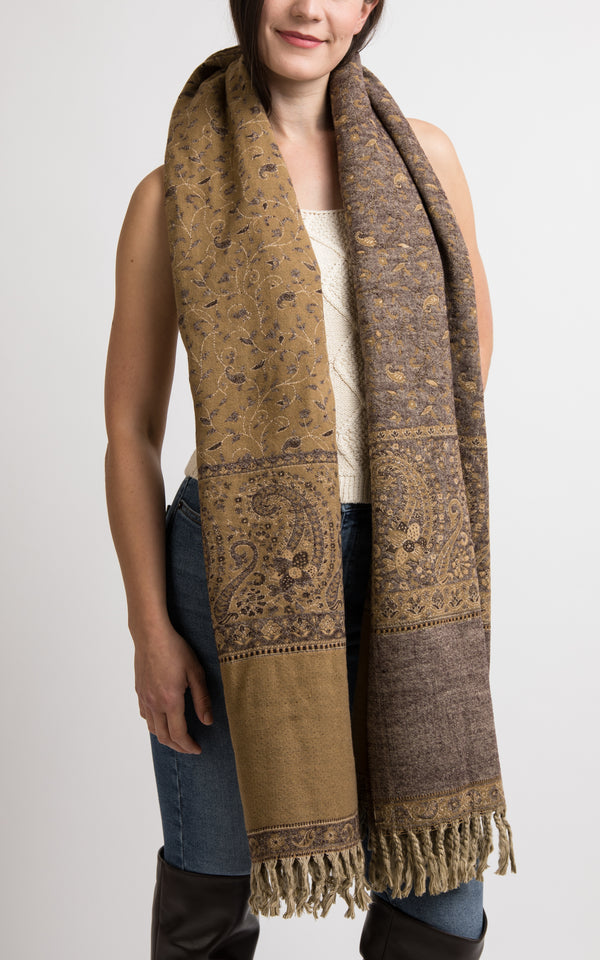 Brown and sand beige reversible chunky knit scarf