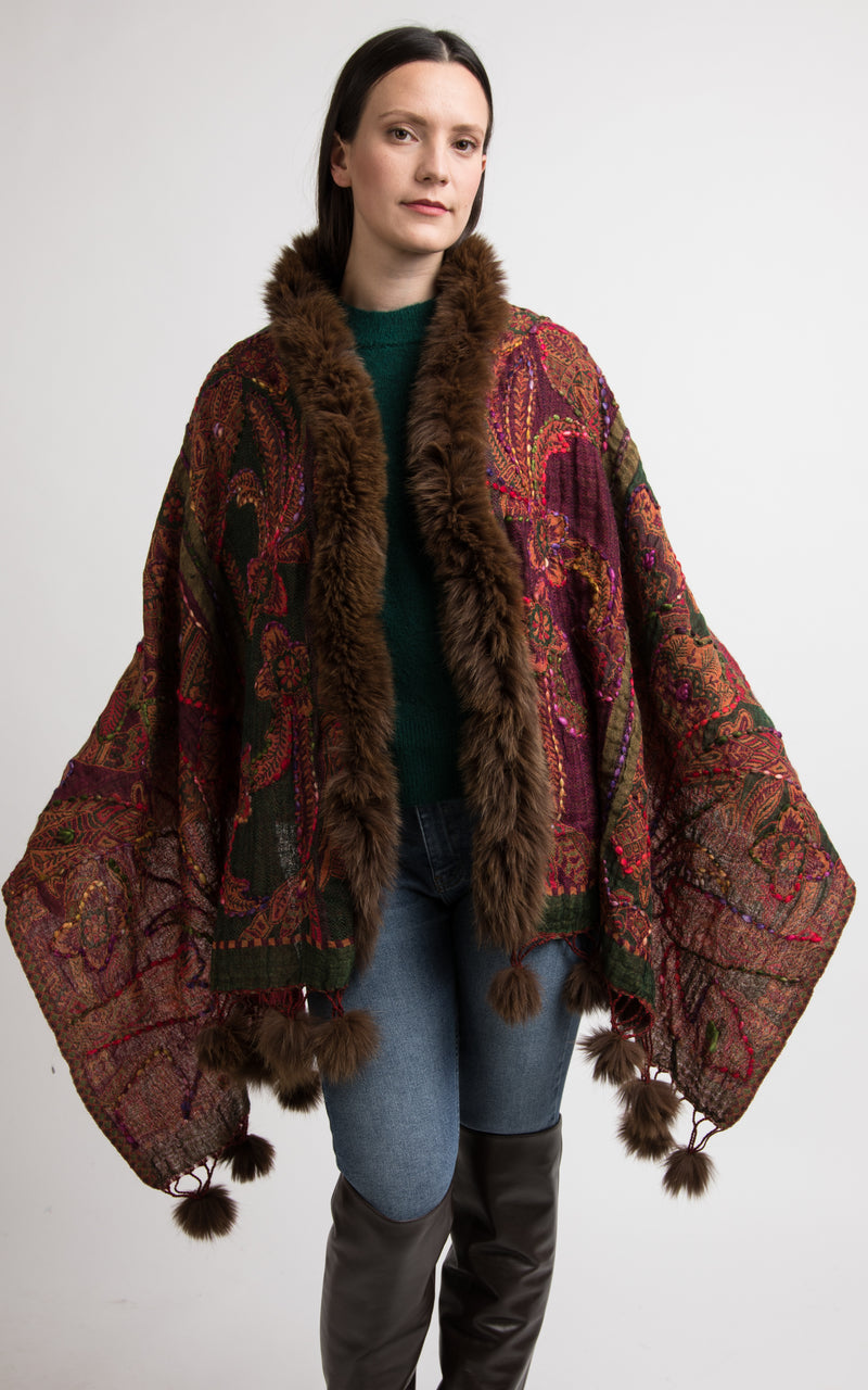 Garnet red boiled wool Capes, wool poncho,-CP109, The Little Tibet