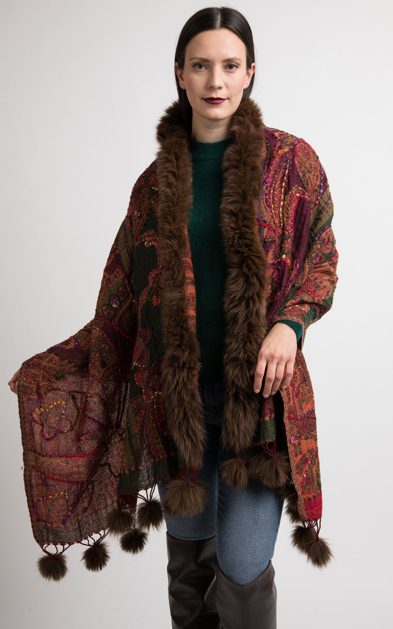 Garnet red boiled wool Capes, wool poncho-CP109, The Little Tibet