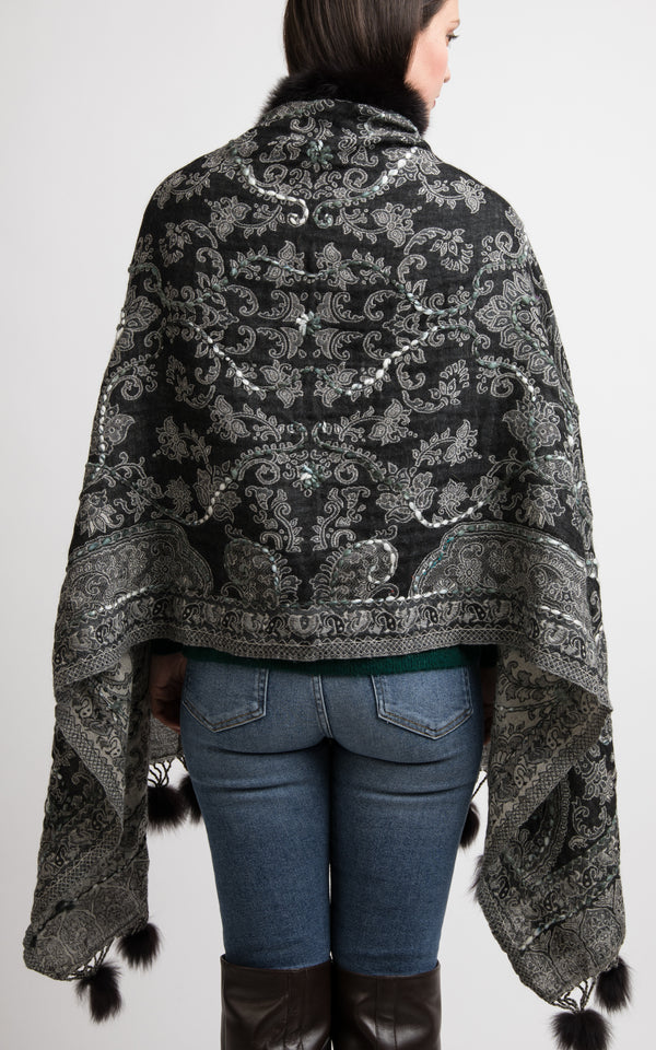 Taupe grey boiled wool Capes-CP110, The Little Tibet