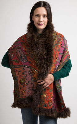 Mocha brown fur trimming boiled wool Capes-CP111, The Little Tibet