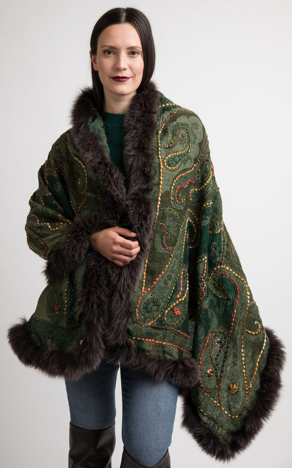 Pine green boiled wool Capes-CP113, The Little Tibet