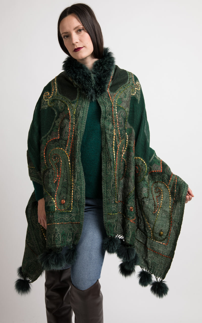 Hunter Green boiled wool Capes-CP115, The Little Tibet