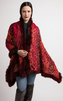 Firebrick red boiled wool Capes-CP116, The Little Tibet