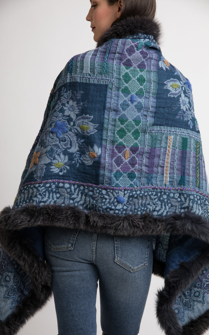 Baby blue boiled wool Capes-CP117, The Little Tibet