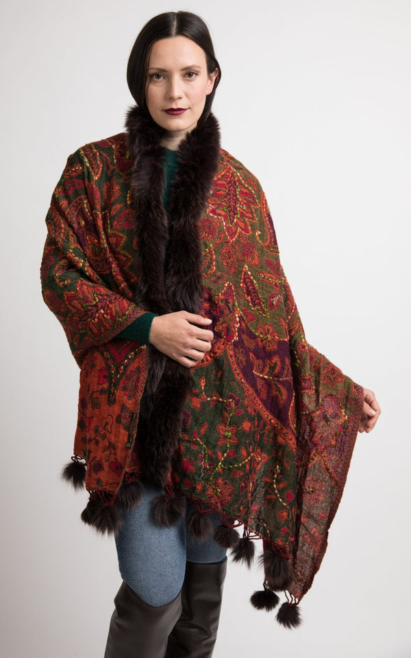 Beet red boiled wool Capes, wool poncho - CP118, The Little Tibet