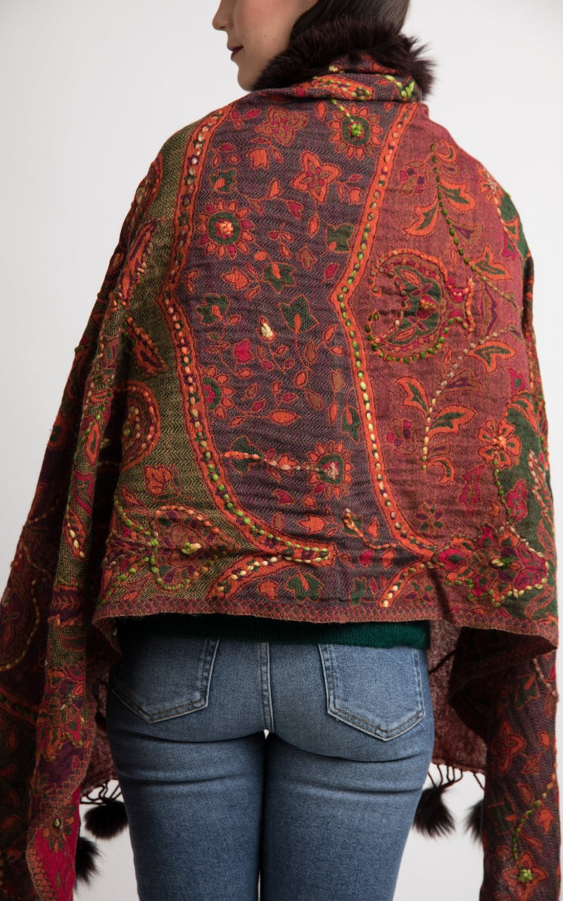 Beet red boiled wool Capes - CP118, The Little Tibet