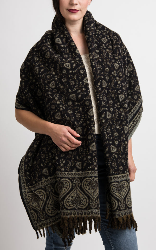 Black and light beige heart floral pattern reversible shawl, The Little Tibet