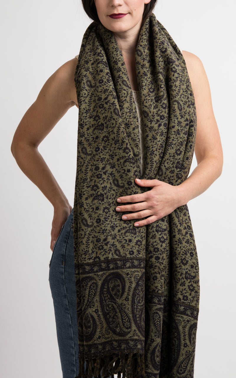 Rich Blue beige green paisley pattern reversible pashmina shawl styled as chunky knit, The Little Tibet