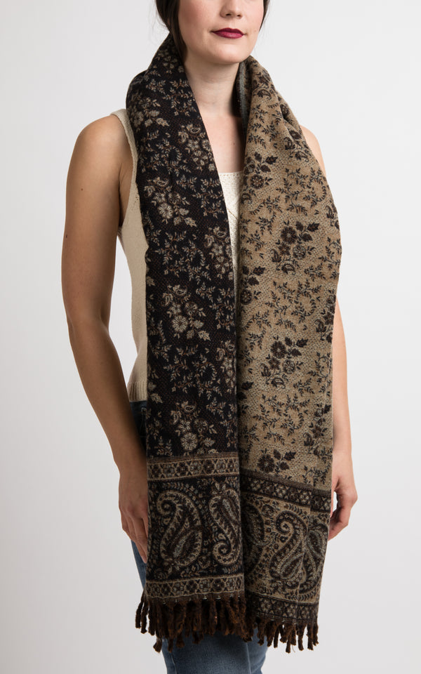Black and beige paisley floral pattern chunky knit, The Little Tibet
