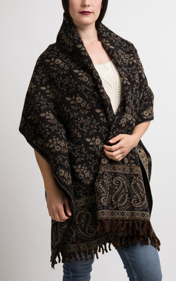 Black and beige paisley floral pattern chunky knit styled as a shawl, The Little Tibet