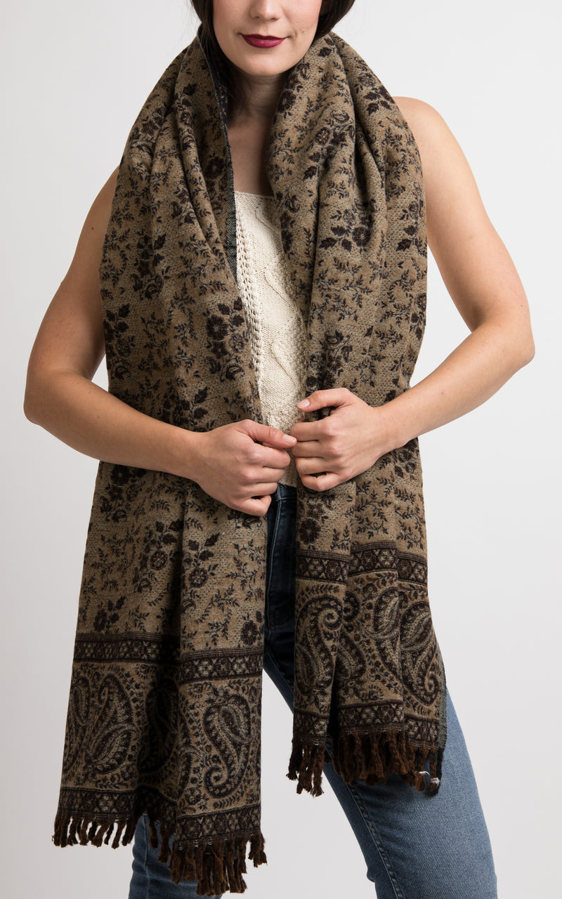 Black and beige paisley floral pattern reversible chunky knit scarf, The Little Tibet