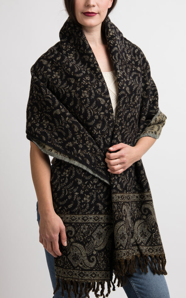 Charcoal Black with diamond paisley pattern Tibetan shawl styled as wrap, The Little Tibet