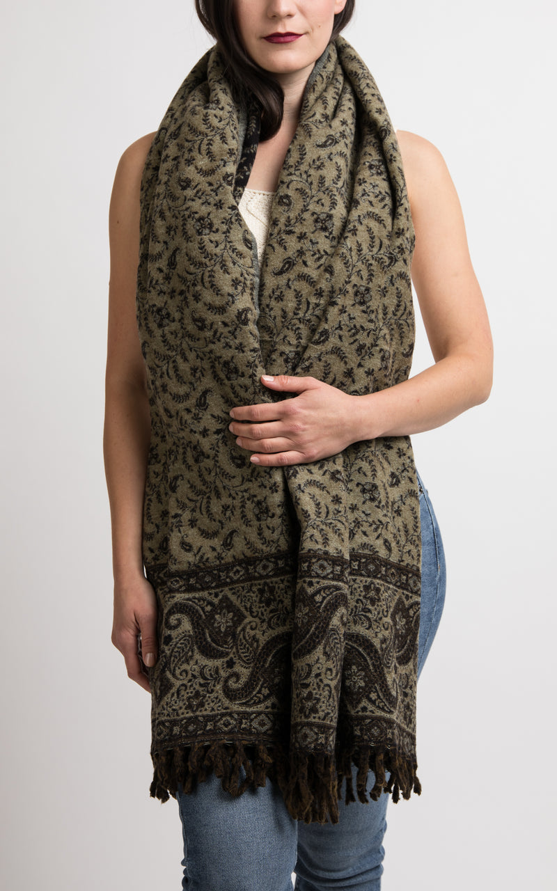 Charcoal Black with diamond paisley pattern reversible Tibetan shawl chunky knit, The Little Tibet