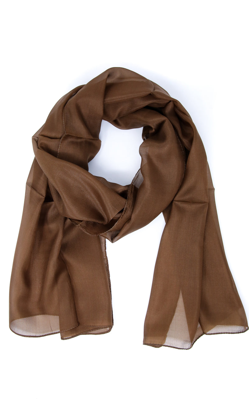 Rich brown soft touch neutral coloured pure silk scarf styled elegantly