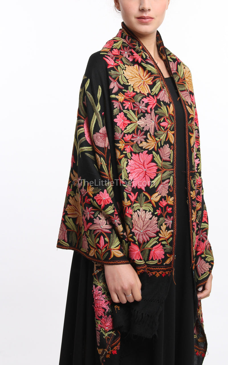 Black pink red florals embroidery Woollen Kashmiri Shawl 100% pure wool