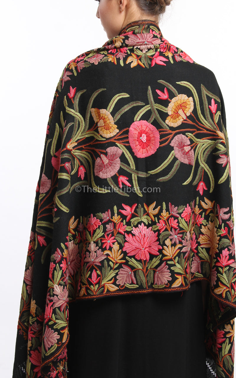 Black pink red florals embroidery Woollen Kashmiri Shawl 100% pure wool close up