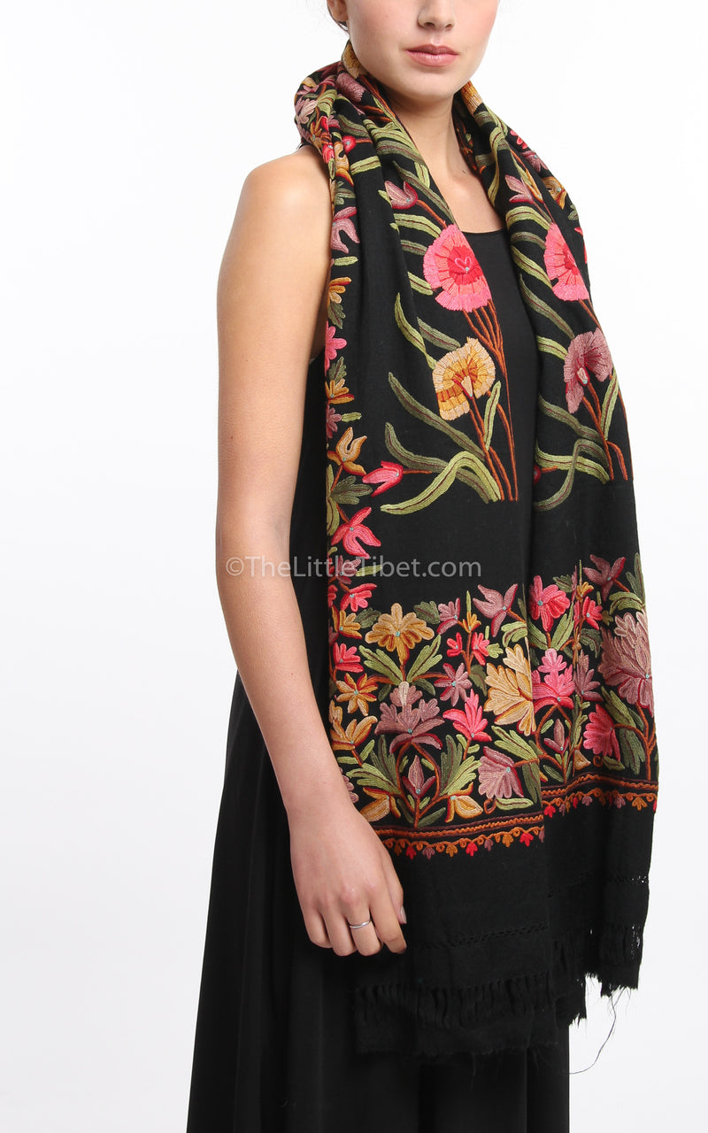 Black pink red florals embroidery Woollen Kashmiri Shawl 100% pure wool draped around neck
