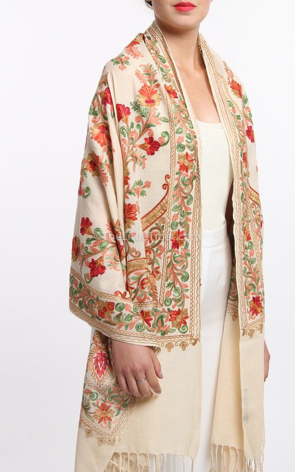 creamy beige floral paisley Hand Embroidered shawl 100% pure wool base draped around shoulders