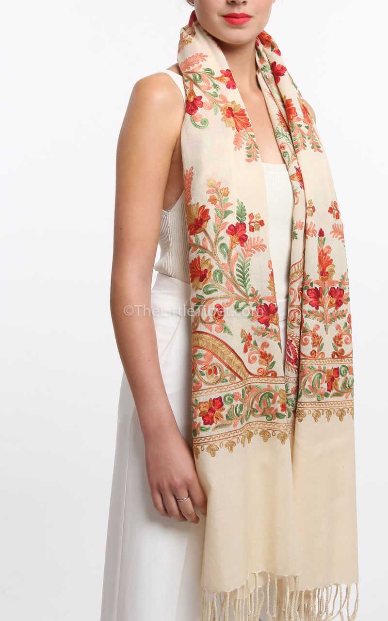 creamy beige floral paisley Hand kashmiri embroidery shawl 100% pure wool base