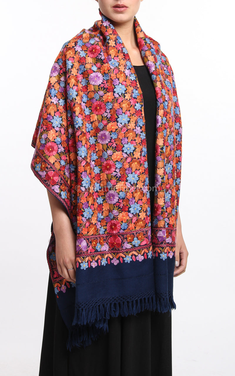 colourful pink floral embroided Woollen Kashmiri Shawl 100% pure wool draped around shoulders