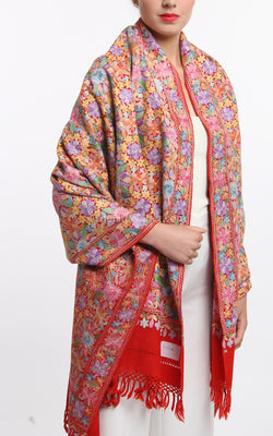 pastel red accents floral embroided Woollen Kashmiri Shawl 100% pure wool