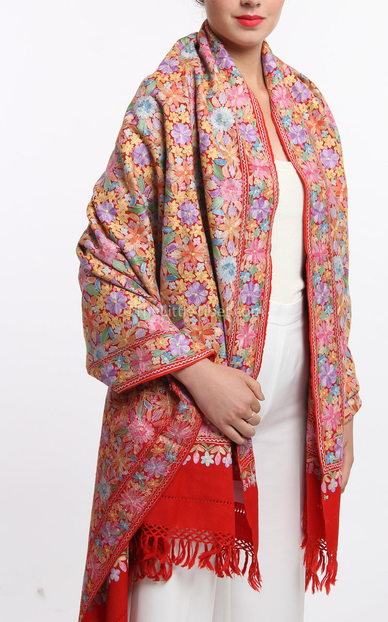 pastel red accents floral embroided Woollen Kashmiri Shawl 100% pure wool draped around shoulders