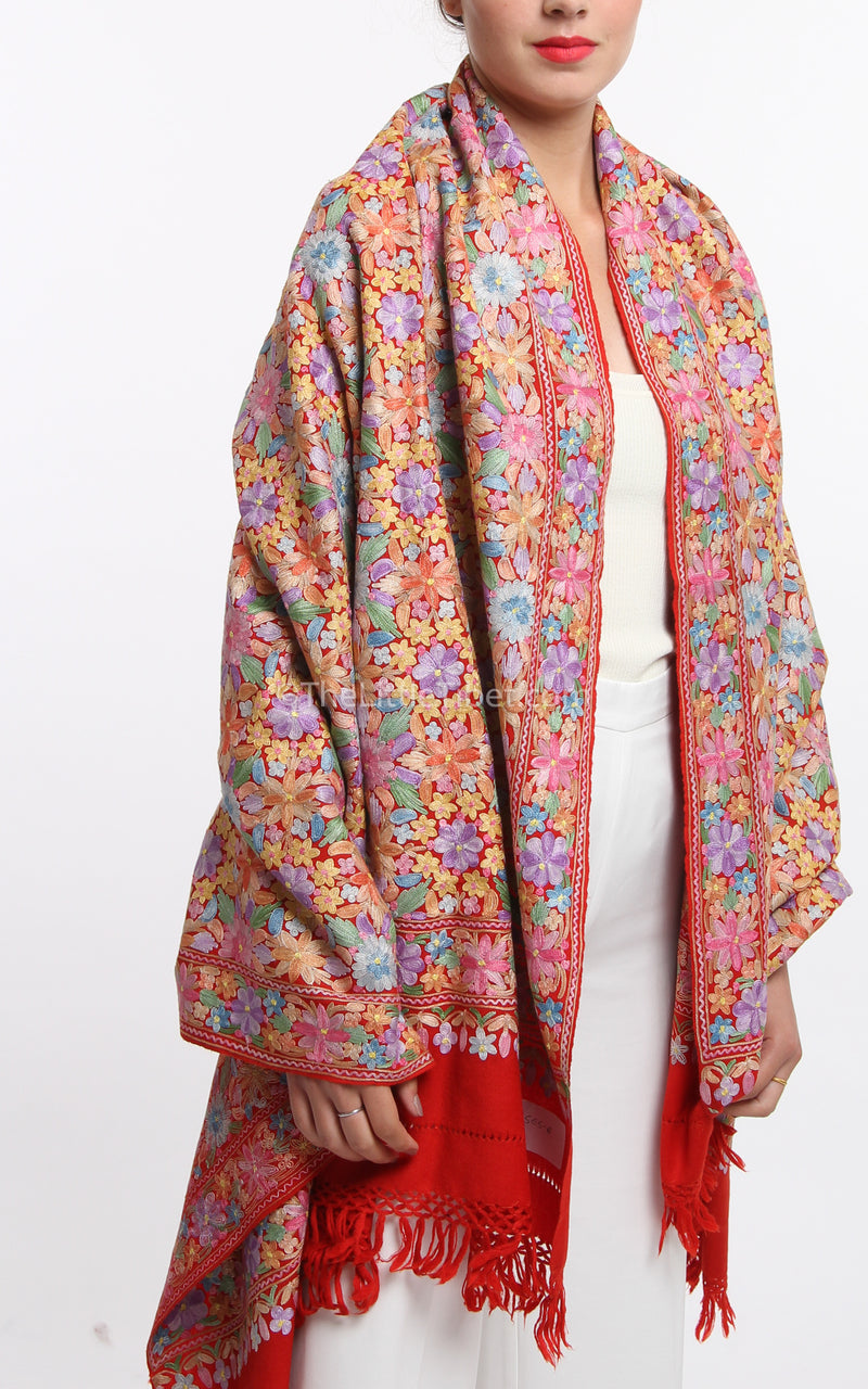 pastel red accents floral embroided Woollen Kashmiri Shawl 100% pure wool free uk shipping