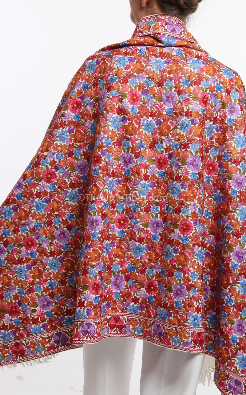 rich red blue floral embroidery handmade Woollen Kashmiri Shawl 100% pure wool