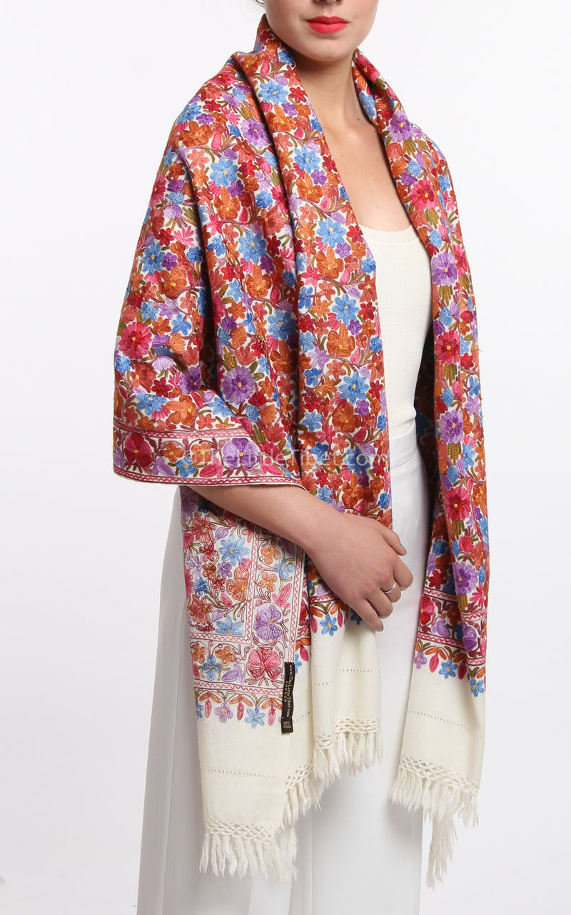 Roshi Lush Embroidered Pashmina (5ES-C), The Little Tibet