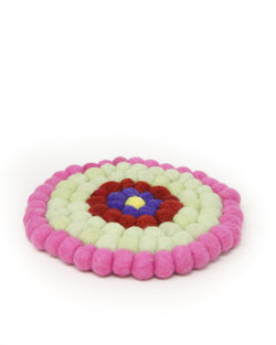 colourful felt cushion made of woollen felt balls for Singing Bowls Made in Nepal